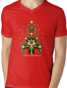 Swirly Christmas tree, snowflakes, birds and text design Mens V-Neck T-Shirt