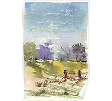 Two fence poles Poster