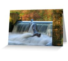 A Hertfordshire Waterfall....The Weir in the River Lea at Batford Greeting Card