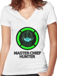 Master Chief Hunter - Achievement Hunter & Halo Mix Women's Fitted V-Neck T-Shirt
