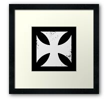 Iron cross in white. Framed Print