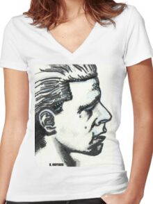 Profile of Man Women's Fitted V-Neck T-Shirt