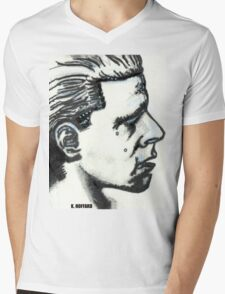 Profile of Man Mens V-Neck T-Shirt
