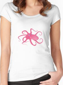 pink octopus Women's Fitted Scoop T-Shirt