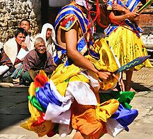 Mask Monk Dancers, Tashiling Festival, Eastern Himalayas, Central Bhutan  by Carole-Anne