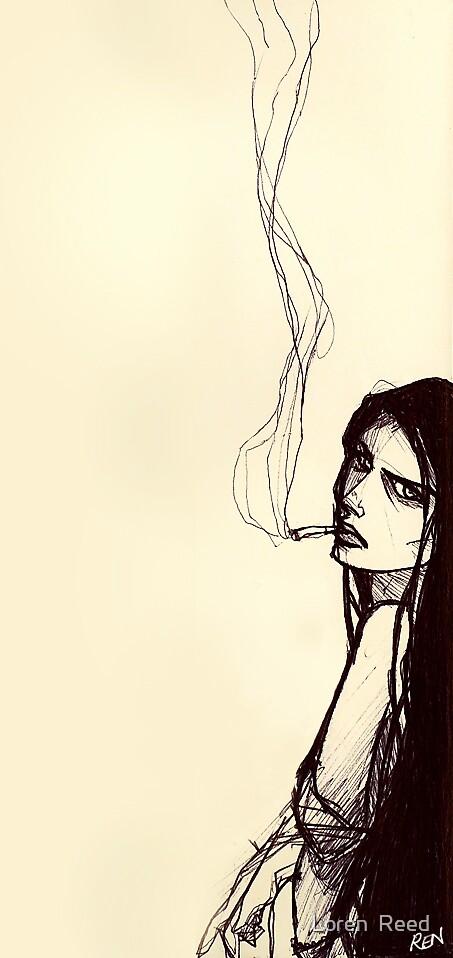 smoking girl by Loren  Reed