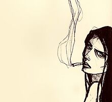 smoking girl by Loren  Reed
