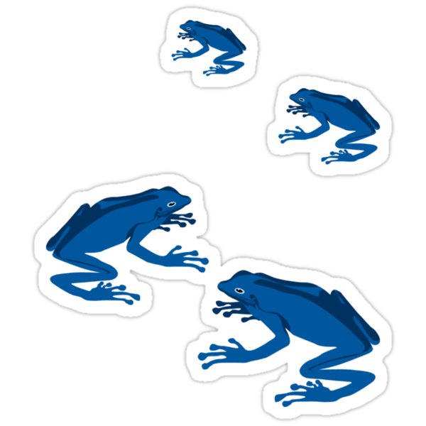 4 blue frogs by popdesign