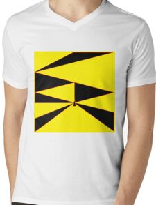 Triangle Yellow, Black, and Red Mens V-Neck T-Shirt