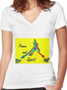 American Sign Language Peace and Quiet Women's Fitted V-Neck T-Shirt