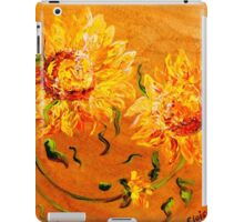 Fiery Sunflowers on Wood iPad Case/Skin
