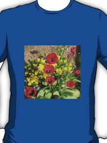 Colourful Corner - Vibrant Red and Pink Tulips T-Shirt