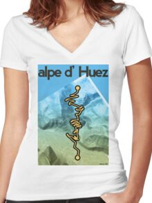 Cycling Poster of Alpe d Huez Women's Fitted V-Neck T-Shirt
