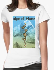 Cycling Poster of Alpe d Huez Womens Fitted T-Shirt