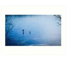 Man, dog, frozen lake Art Print