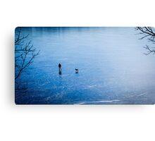 Man, dog, frozen lake Canvas Print