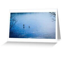 Man, dog, frozen lake Greeting Card