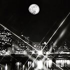 Dayton ohio with full moon  by Sharon  Taylor