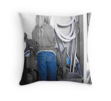 Little Girl in Blue Jeans Throw Pillow