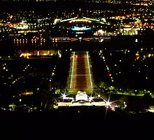 Canberra by night - War Memorial Anzac Parade Old & New Parliament Houses.jpg by pedroski