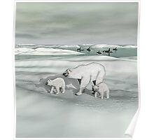 Mother Polar Bear and Cubs Poster