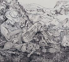 Resting in Peace (Etching)- by Robert Dye