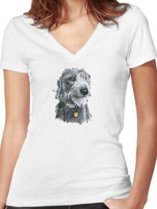 Cute stylized scruffy pup Women's Fitted V-Neck T-Shirt