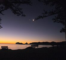 sunset and new moon lord howe island by andymerse