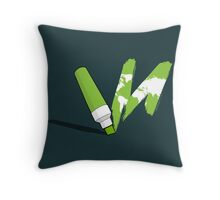 Painted green Throw Pillow