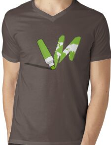 Painted green Mens V-Neck T-Shirt