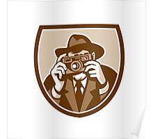 Photographer Shooting Camera Shield Retro Poster