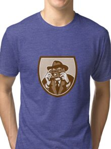 Photographer Shooting Camera Shield Retro Tri-blend T-Shirt