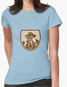 Photographer Shooting Camera Shield Retro Womens Fitted T-Shirt
