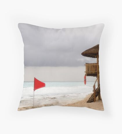 Red Flag and Lifeguard Stand Throw Pillow