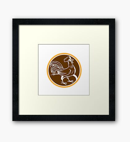Chicken Rooster Side Circle Woodcut Framed Print