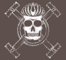 Cycling skull and crossbones by Karl Salisbury
