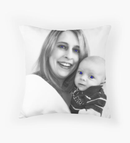 Mother and Son Enhanced Throw Pillow