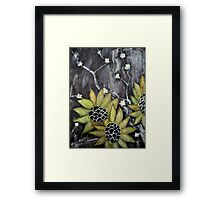 Flowers in black background original acrylic painting Framed Print