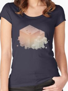 Pastel Vintage Cubes Women's Fitted Scoop T-Shirt