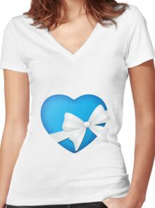Valentine Blue Heart Women's Fitted V-Neck T-Shirt