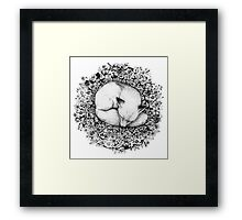 Fox Sleeping in Flowers Framed Print