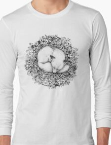 Fox Sleeping in Flowers Long Sleeve T-Shirt