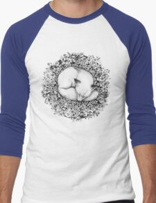 Fox Sleeping in Flowers Men's Baseball ¾ T-Shirt