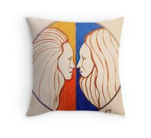 Hippies in love Throw Pillow