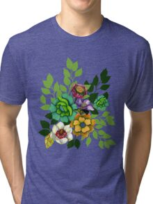 Flower Hand drawn Print Tri-blend T-Shirt