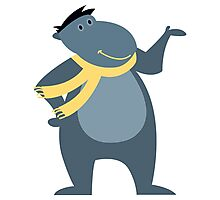 Funny cartoon hippo Photographic Print