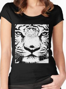 10 Big White Snow Tiger By Chris McCabe - DRAGAN GRAFIX Women's Fitted Scoop T-Shirt