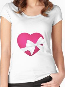Valentine Pink Heart Women's Fitted Scoop T-Shirt