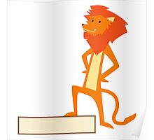 Funny cartoon lion Poster