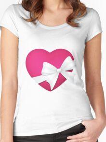 Valentine Pink Heart Sticker Women's Fitted Scoop T-Shirt